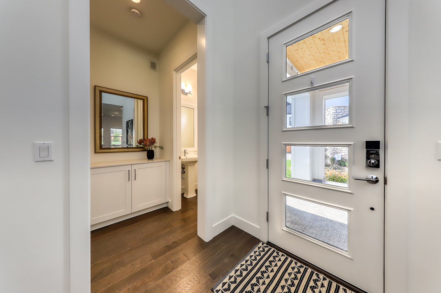 Front Door and Entry Powder Room